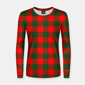 Jumbo Holly Red and Balsam Green Christmas Country Cabin Buffalo Check Women sweater imagen en miniatura