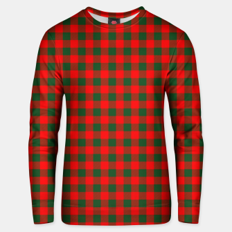 Medium Holly Red and Balsam Green Christmas Country Cabin Buffalo Check Unisex sweater imagen en miniatura