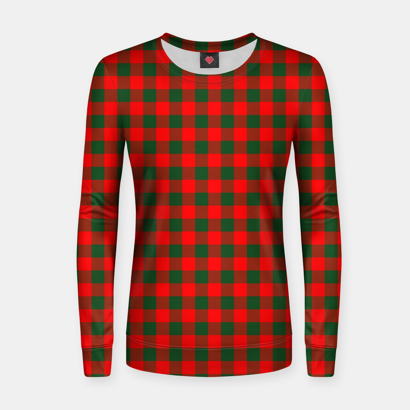 Imagen de Medium Holly Red and Balsam Green Christmas Country Cabin Buffalo Check Women sweater - Live Heroes