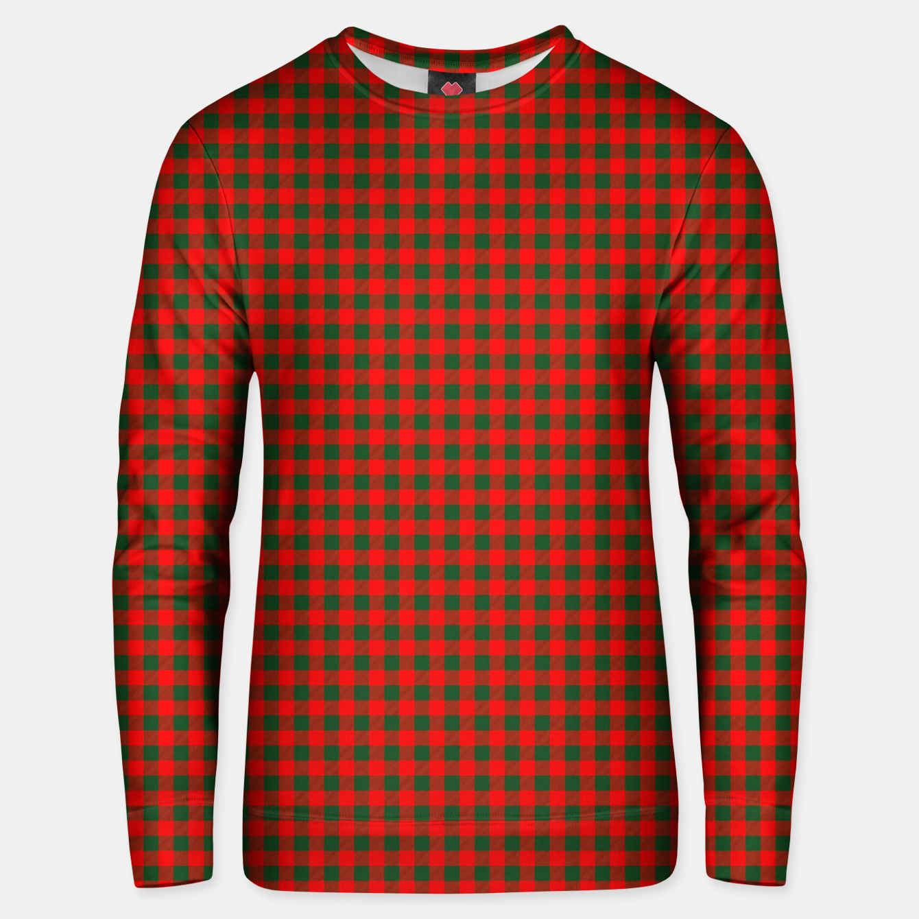 Imagen de Tiny Holly Red and Balsam Green Christmas Country Cabin Buffalo Check Unisex sweater - Live Heroes