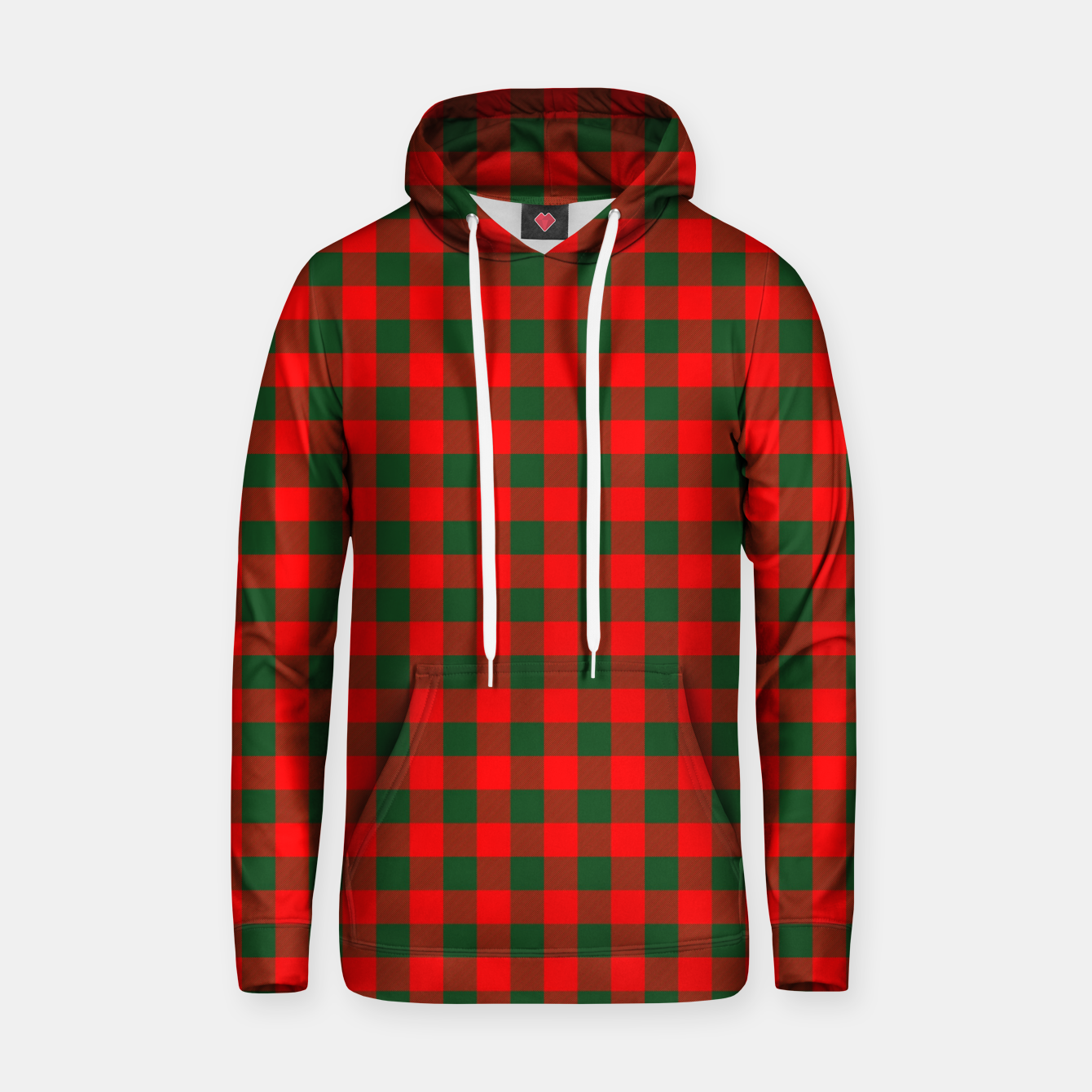 Imagen de Medium Holly Red and Balsam Green Christmas Country Cabin Buffalo Check Hoodie - Live Heroes