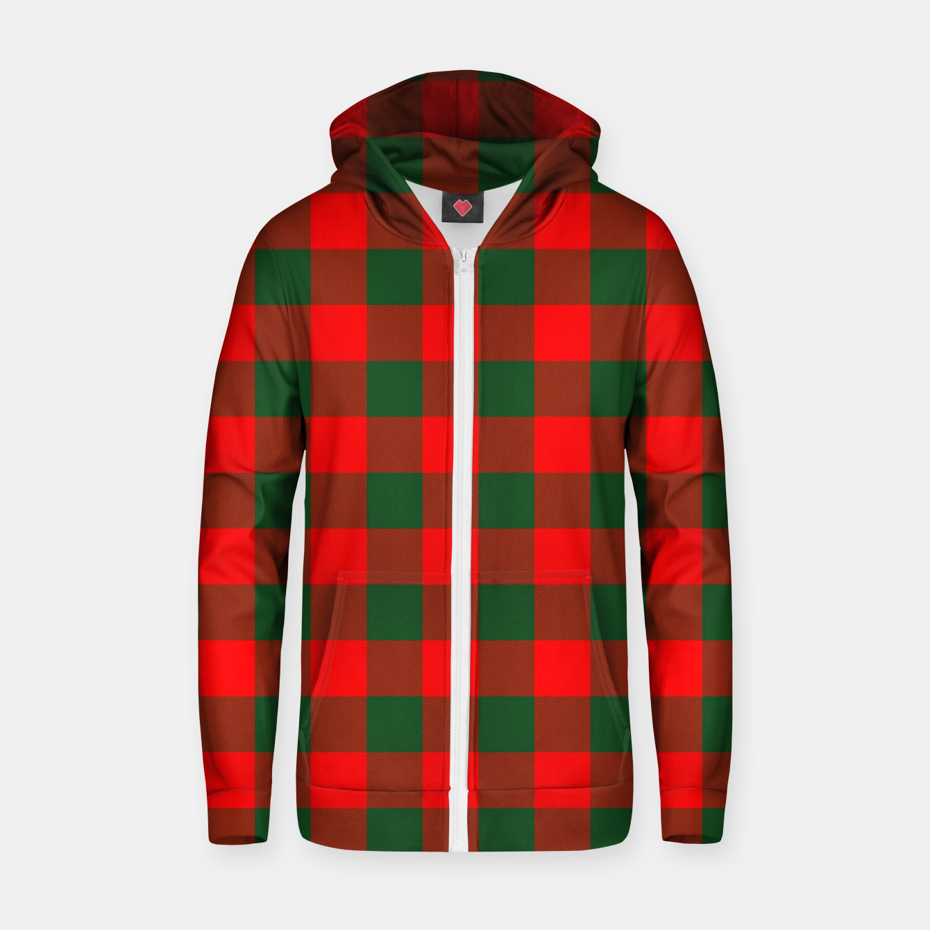 Imagen de Jumbo Holly Red and Balsam Green Christmas Country Cabin Buffalo Check Zip up hoodie - Live Heroes