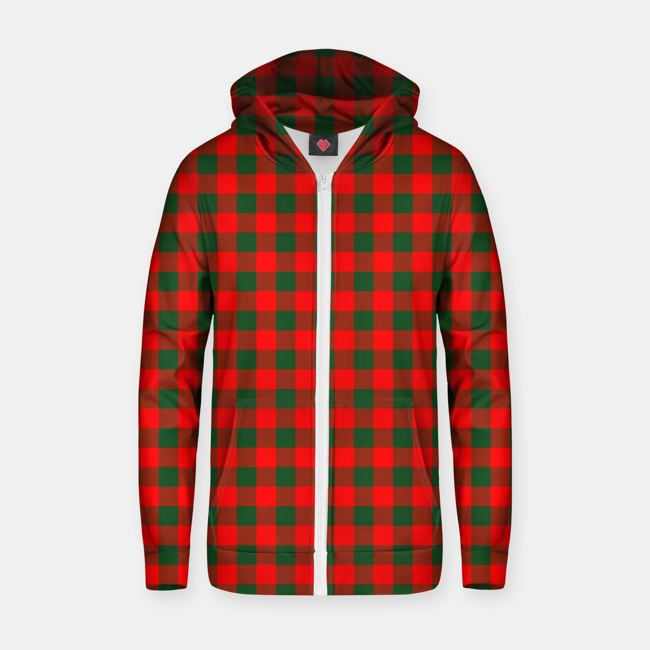 Imagen de Medium Holly Red and Balsam Green Christmas Country Cabin Buffalo Check Zip up hoodie - Live Heroes