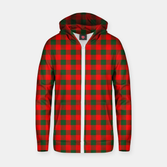 Thumbnail image of Medium Holly Red and Balsam Green Christmas Country Cabin Buffalo Check Zip up hoodie, Live Heroes