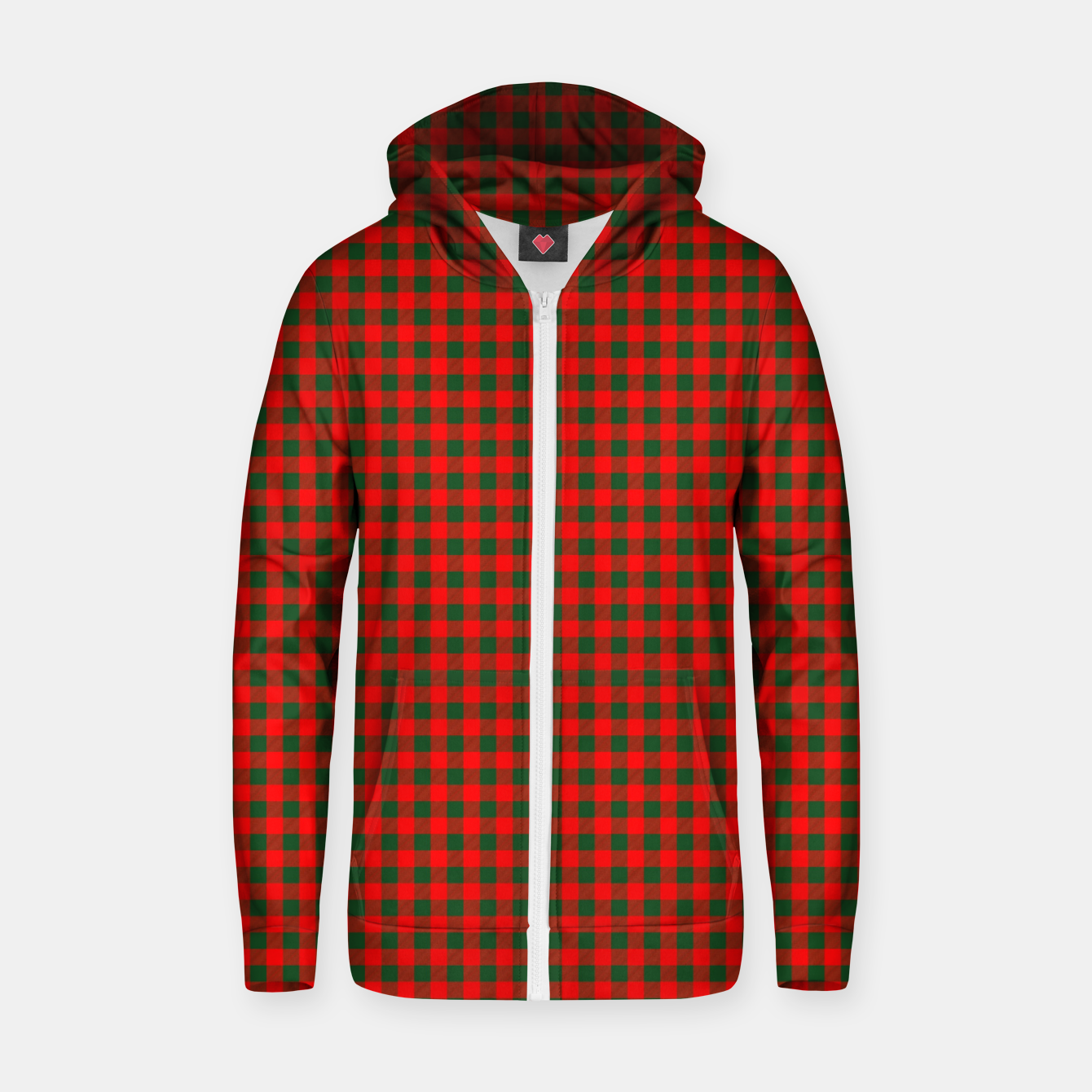 Imagen de Tiny Holly Red and Balsam Green Christmas Country Cabin Buffalo Check Zip up hoodie - Live Heroes