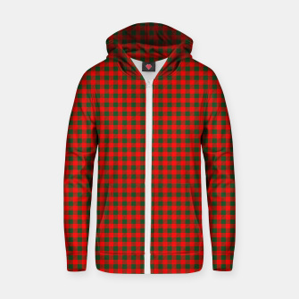 Tiny Holly Red and Balsam Green Christmas Country Cabin Buffalo Check Zip up hoodie imagen en miniatura