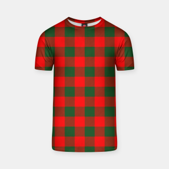Miniatur Jumbo Holly Red and Balsam Green Christmas Country Cabin Buffalo Check T-shirt, Live Heroes