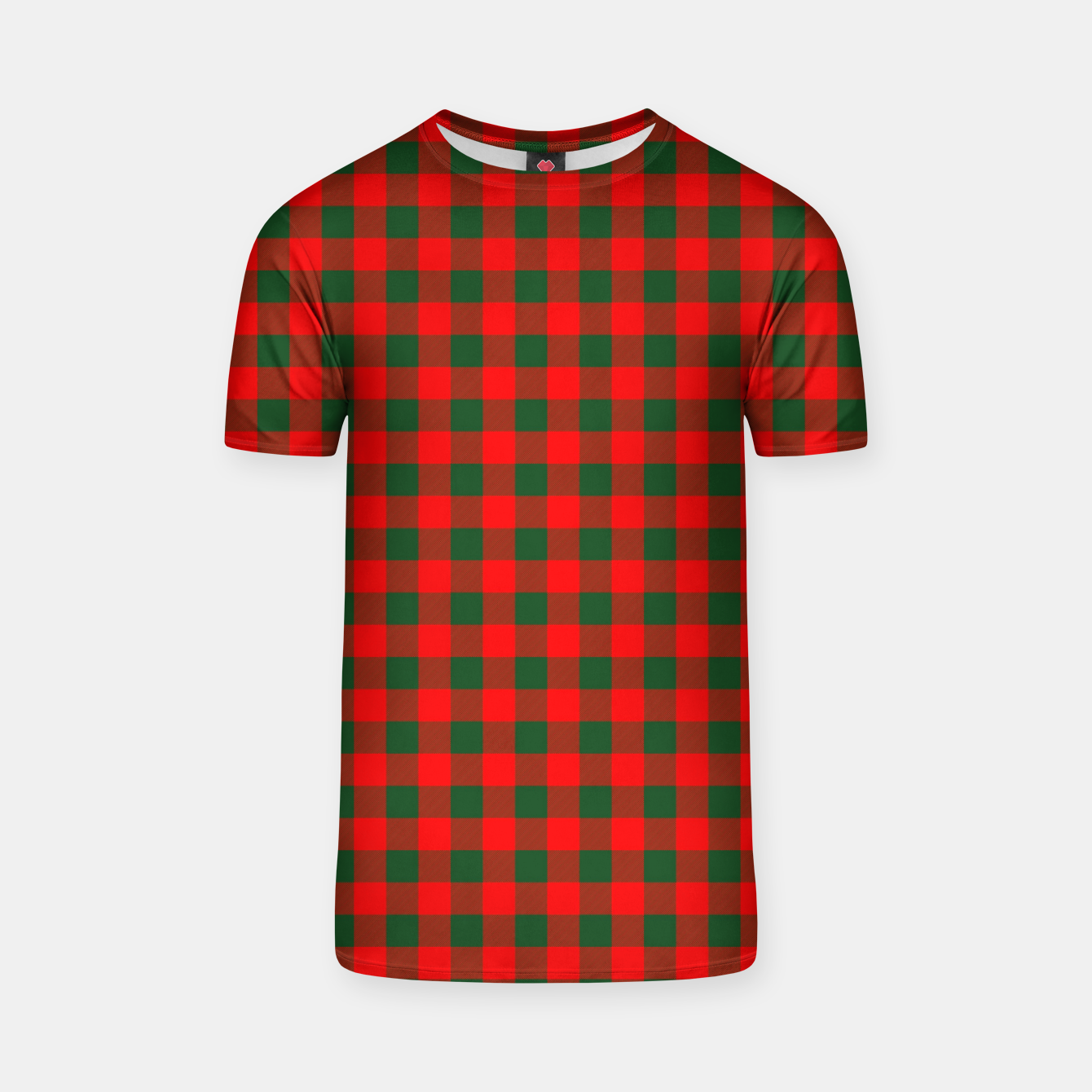 Imagen de Medium Holly Red and Balsam Green Christmas Country Cabin Buffalo Check T-shirt - Live Heroes