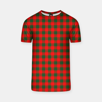 Imagen en miniatura de Medium Holly Red and Balsam Green Christmas Country Cabin Buffalo Check T-shirt, Live Heroes