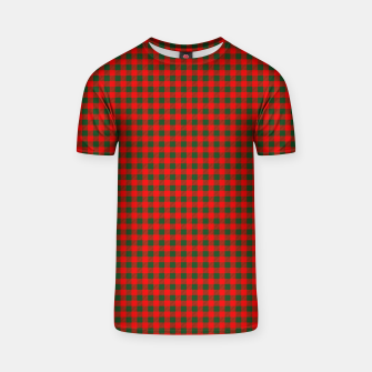 Thumbnail image of Tiny Holly Red and Balsam Green Christmas Country Cabin Buffalo Check T-shirt, Live Heroes