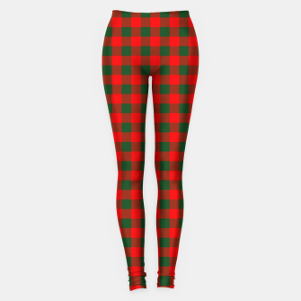 Thumbnail image of Medium Holly Red and Balsam Green Christmas Country Cabin Buffalo Check Leggings, Live Heroes