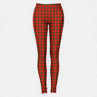 Thumbnail image of Tiny Holly Red and Balsam Green Christmas Country Cabin Buffalo Check Leggings, Live Heroes