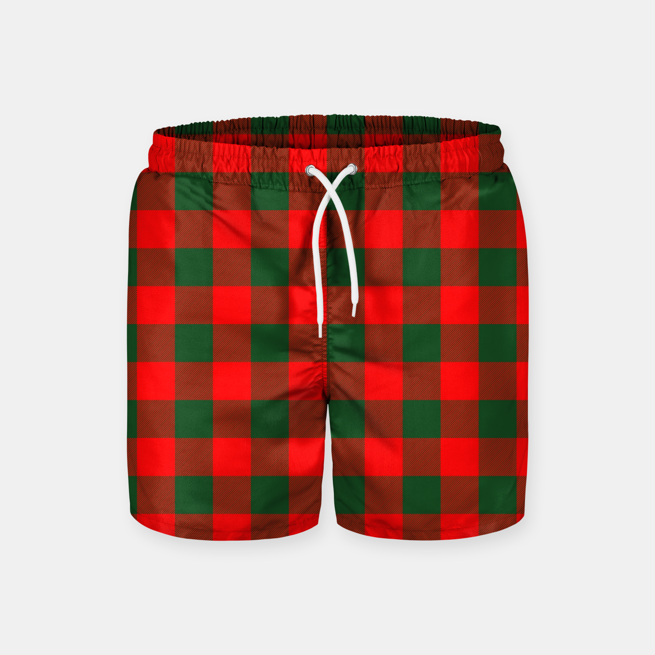 Imagen de Jumbo Holly Red and Balsam Green Christmas Country Cabin Buffalo Check Swim Shorts - Live Heroes