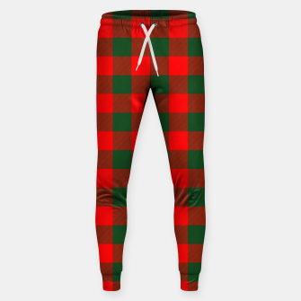 Imagen en miniatura de Jumbo Holly Red and Balsam Green Christmas Country Cabin Buffalo Check Sweatpants, Live Heroes