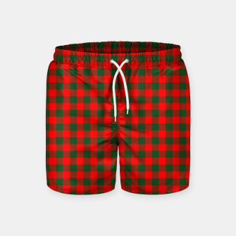 Thumbnail image of Medium Holly Red and Balsam Green Christmas Country Cabin Buffalo Check Swim Shorts, Live Heroes