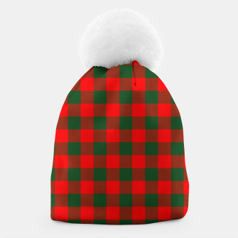 Miniatur Jumbo Holly Red and Balsam Green Christmas Country Cabin Buffalo Check Beanie, Live Heroes