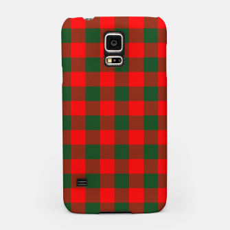 Jumbo Holly Red and Balsam Green Christmas Country Cabin Buffalo Check Samsung Case imagen en miniatura