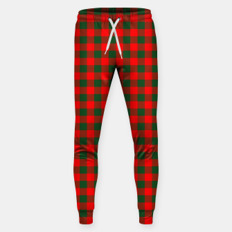 Miniatur Medium Holly Red and Balsam Green Christmas Country Cabin Buffalo Check Sweatpants, Live Heroes