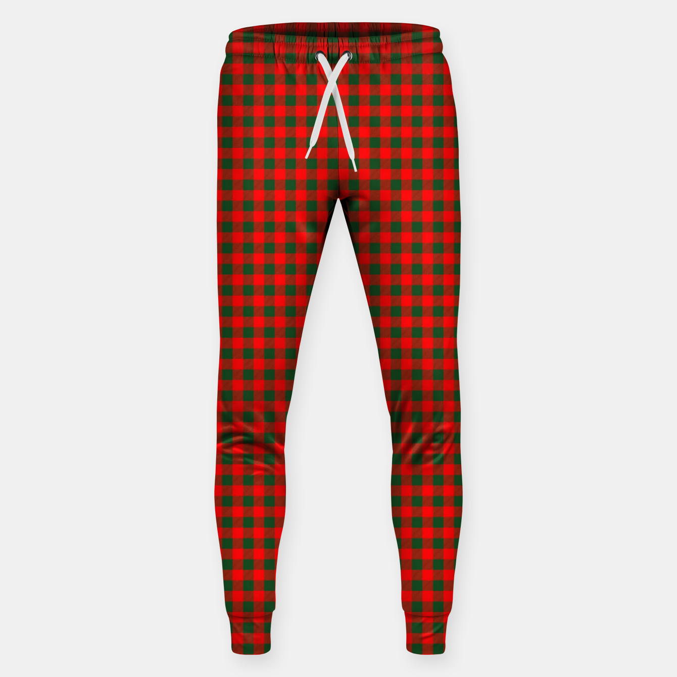 Imagen de Tiny Holly Red and Balsam Green Christmas Country Cabin Buffalo Check Sweatpants - Live Heroes