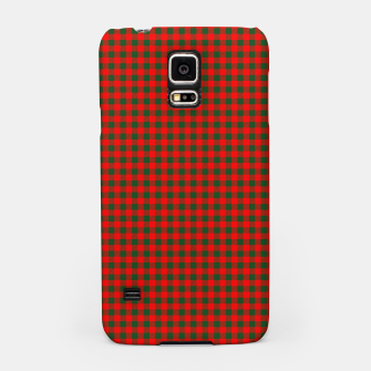 Imagen en miniatura de Tiny Holly Red and Balsam Green Christmas Country Cabin Buffalo Check Samsung Case, Live Heroes