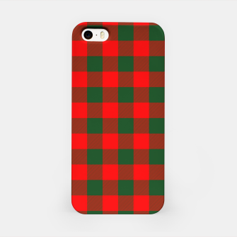 Imagen en miniatura de Jumbo Holly Red and Balsam Green Christmas Country Cabin Buffalo Check iPhone Case, Live Heroes
