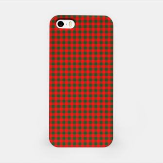 Imagen en miniatura de Tiny Holly Red and Balsam Green Christmas Country Cabin Buffalo Check iPhone Case, Live Heroes
