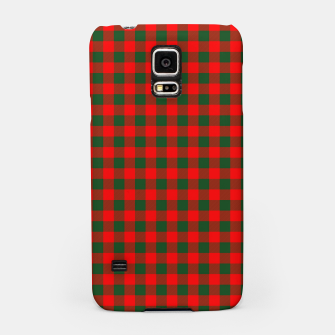 Medium Holly Red and Balsam Green Christmas Country Cabin Buffalo Check Samsung Case imagen en miniatura