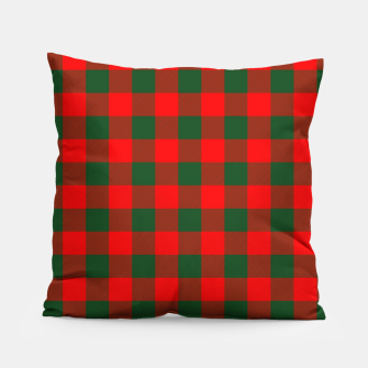 Jumbo Holly Red and Balsam Green Christmas Country Cabin Buffalo Check Pillow imagen en miniatura
