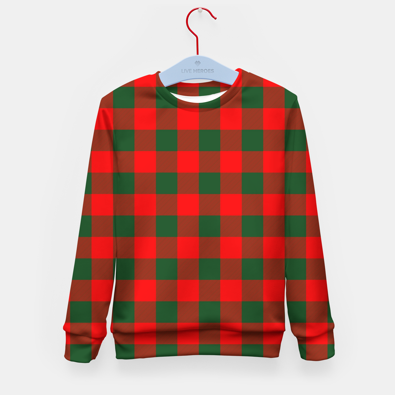 Imagen de Jumbo Holly Red and Balsam Green Christmas Country Cabin Buffalo Check Kid's sweater - Live Heroes