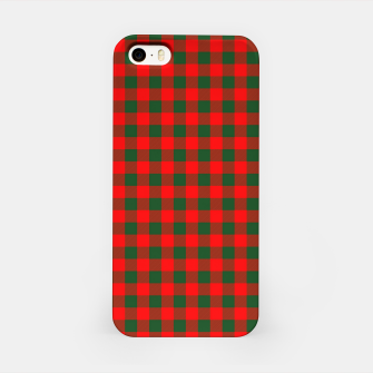 Medium Holly Red and Balsam Green Christmas Country Cabin Buffalo Check iPhone Case imagen en miniatura
