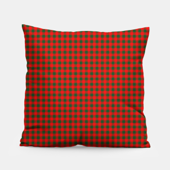 Tiny Holly Red and Balsam Green Christmas Country Cabin Buffalo Check Pillow imagen en miniatura