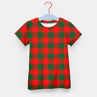 Jumbo Holly Red and Balsam Green Christmas Country Cabin Buffalo Check Kid's t-shirt imagen en miniatura