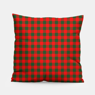 Miniatur Medium Holly Red and Balsam Green Christmas Country Cabin Buffalo Check Pillow, Live Heroes