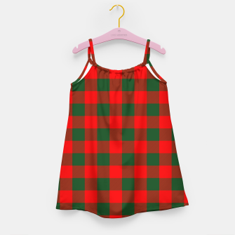 Jumbo Holly Red and Balsam Green Christmas Country Cabin Buffalo Check Girl's dress imagen en miniatura