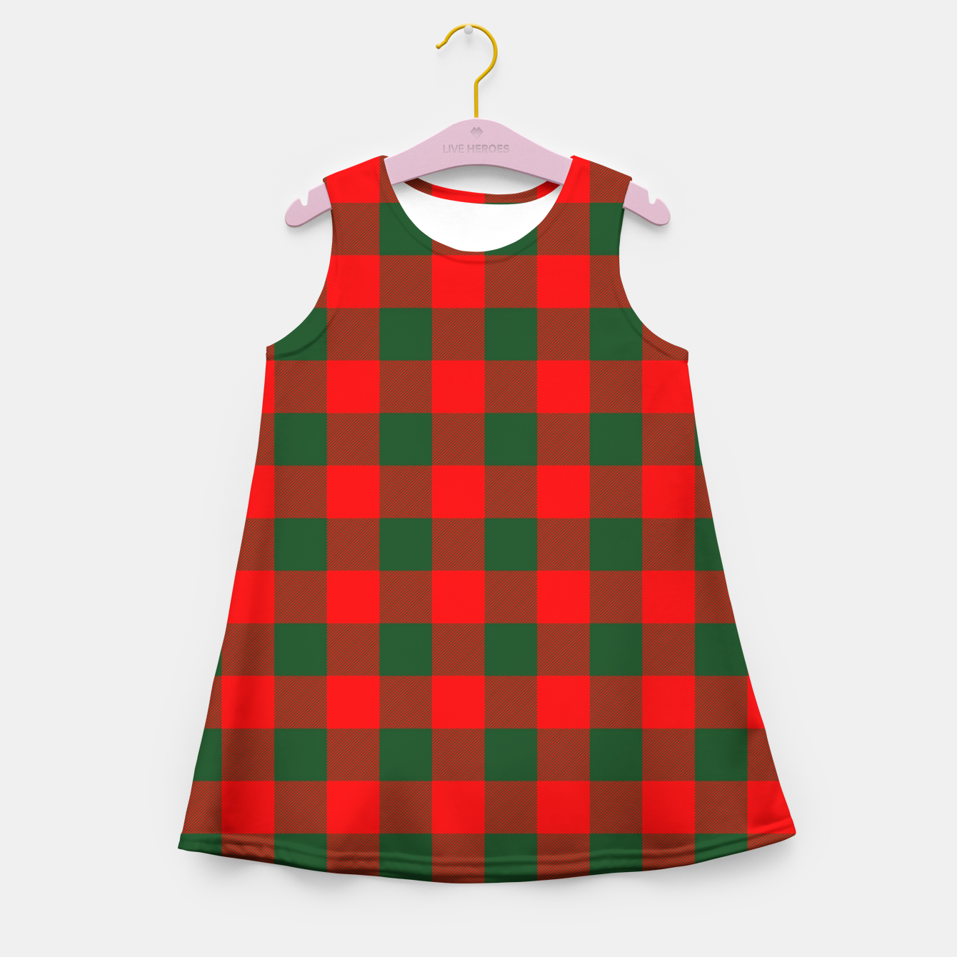 Imagen de Jumbo Holly Red and Balsam Green Christmas Country Cabin Buffalo Check Girl's summer dress - Live Heroes