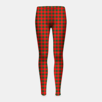 Imagen en miniatura de Tiny Holly Red and Balsam Green Christmas Country Cabin Buffalo Check Girl's leggings, Live Heroes
