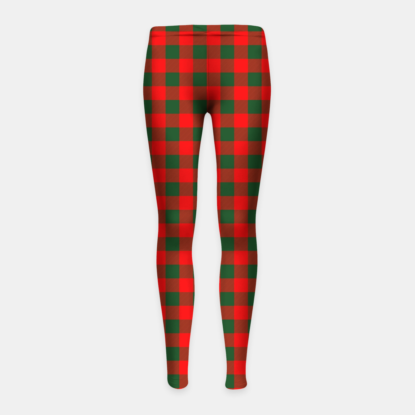 Imagen de Medium Holly Red and Balsam Green Christmas Country Cabin Buffalo Check Girl's leggings - Live Heroes