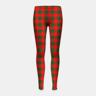 Thumbnail image of Medium Holly Red and Balsam Green Christmas Country Cabin Buffalo Check Girl's leggings, Live Heroes