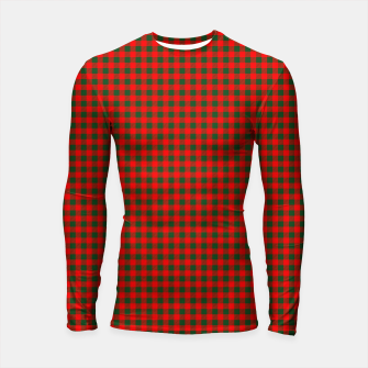 Thumbnail image of Tiny Holly Red and Balsam Green Christmas Country Cabin Buffalo Check Longsleeve rashguard , Live Heroes