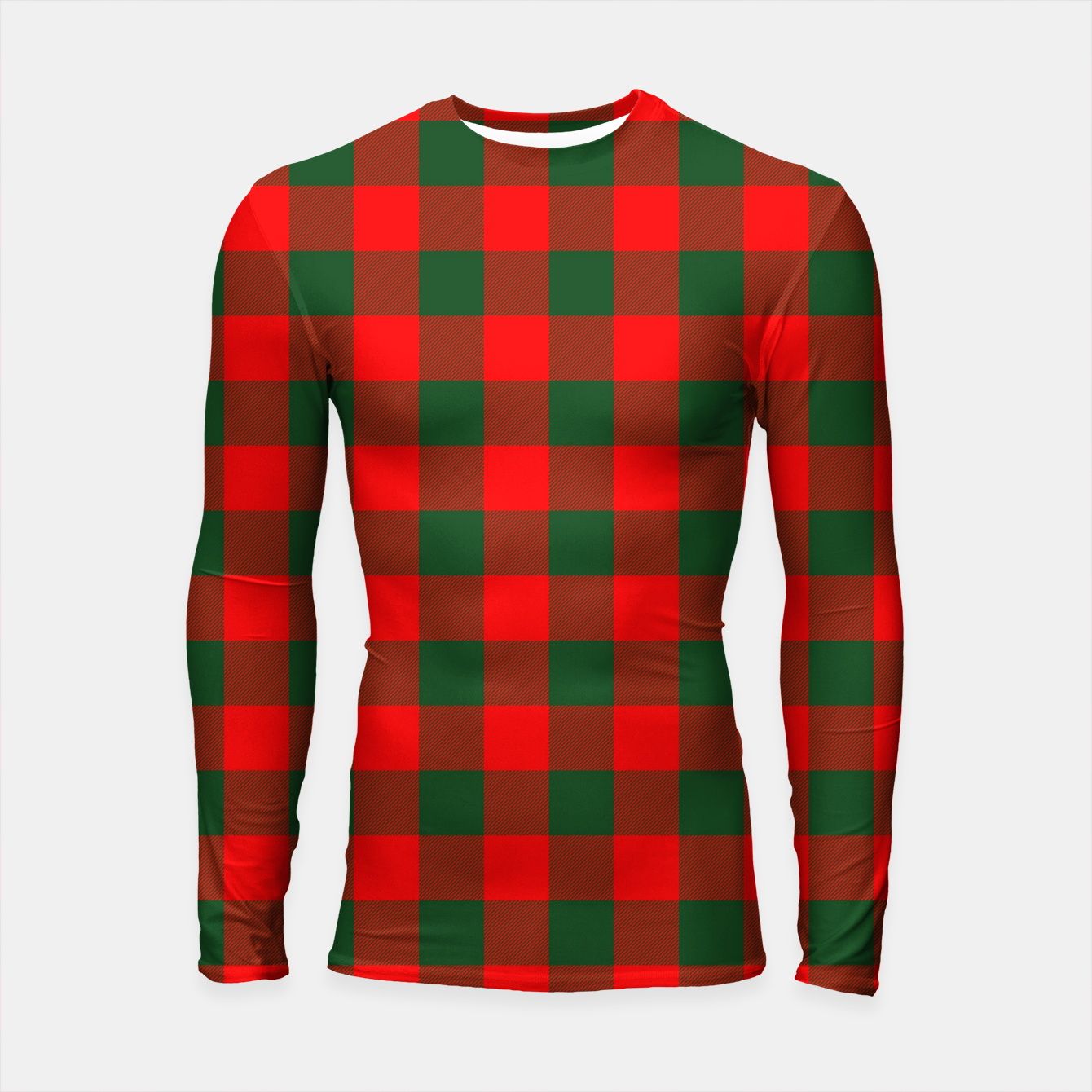 Imagen de Jumbo Holly Red and Balsam Green Christmas Country Cabin Buffalo Check Longsleeve rashguard  - Live Heroes