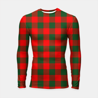 Thumbnail image of Jumbo Holly Red and Balsam Green Christmas Country Cabin Buffalo Check Longsleeve rashguard , Live Heroes