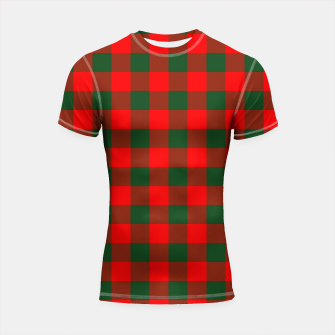 Jumbo Holly Red and Balsam Green Christmas Country Cabin Buffalo Check Shortsleeve rashguard imagen en miniatura