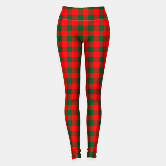 Imagen en miniatura de Medium Holly Red and Balsam Green Christmas Country Cabin Buffalo Check Leggings, Live Heroes