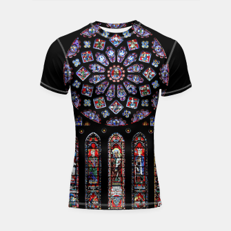 Miniatur Colorful Black Stained Glass Shortsleeve rashguard, Live Heroes