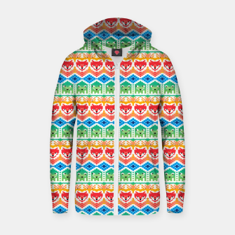 Thumbnail image of Fair Isle Foxes and Monsters – Zip up hoodie, Live Heroes