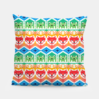 Thumbnail image of Fair Isle Foxes and Monsters – Pillow, Live Heroes