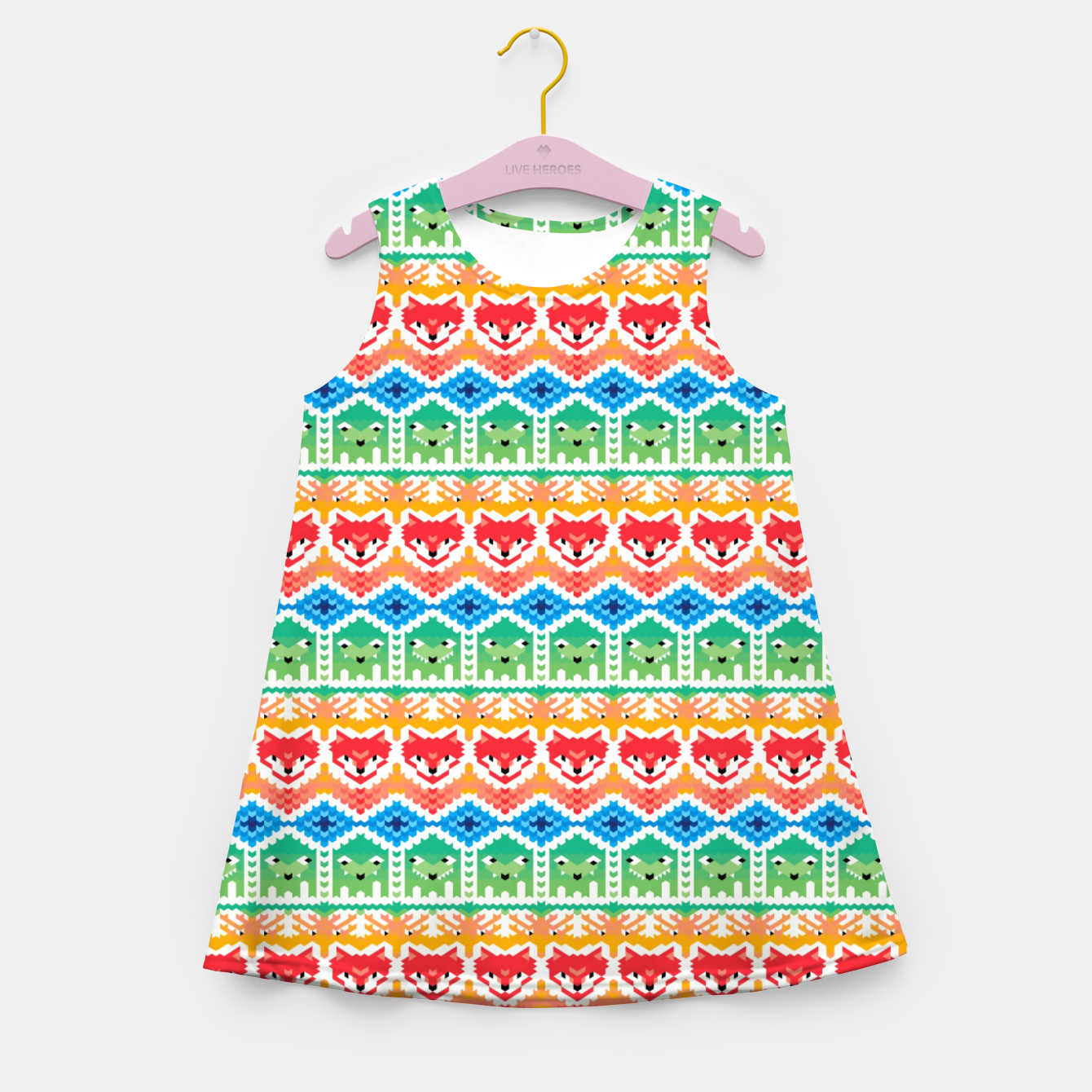 Image of Fair Isle Foxes and Monsters – Girl's summer dress - Live Heroes
