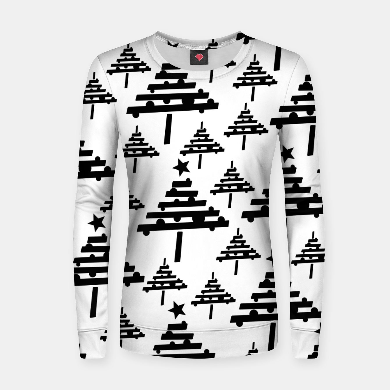 Black and White Christmas Tree Pattern Women sweater, Live Heroes