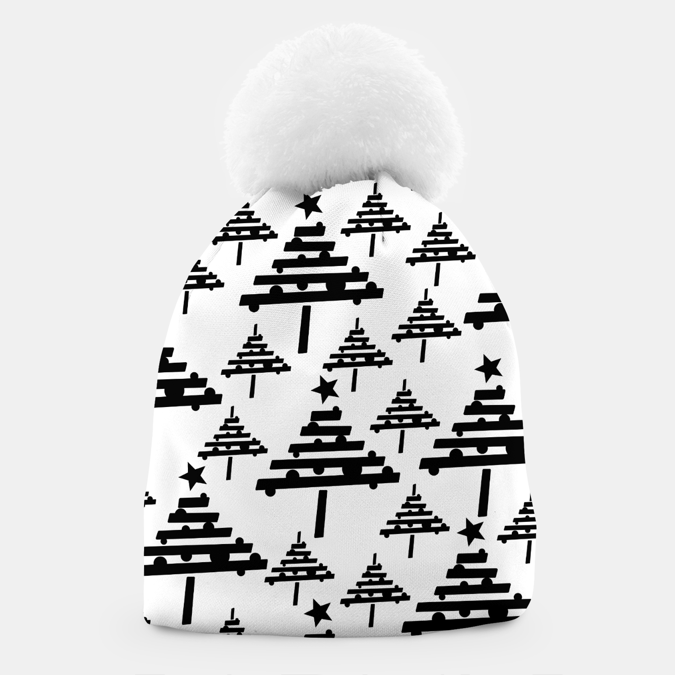 Image of Black and White Christmas Tree Pattern Beanie - Live Heroes