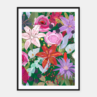 Thumbnail image of Lily and colorful pretty flowers  Framed poster, Live Heroes